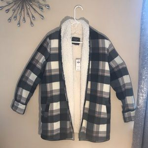 ABERCROMBIE & FITCH LARGE FLANNEL SHERPA JACKET